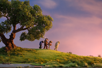Wind in the willows characters are walking into the sunset towards a wilder future